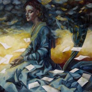 """Una madre scrive alla figlia per confessarle le bugie che una madre lavoratrice è costretta a dire.  """"Le ali degli angeli raffreddano i poeti"""" (A.Merini)  Dipinto di Elisabetta Trevisan."""